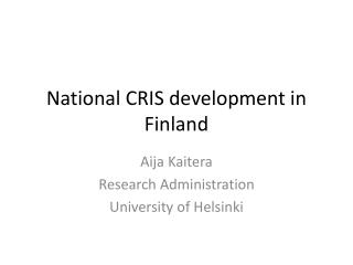 National CRIS development in Finland