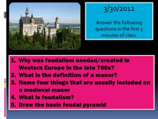 3/30/2012 Answer the following questions in the first 5 minutes of class.
