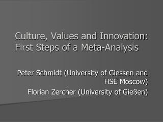 Culture, Values and Innovation: First Steps of a Meta-Analysis