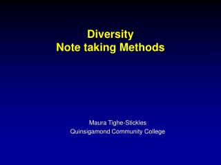 Diversity Note taking Methods