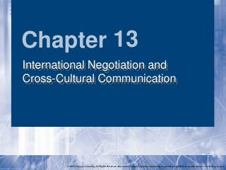 International Negotiation and  Cross-Cultural Communication
