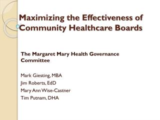 Maximizing the Effectiveness of Community Healthcare Boards