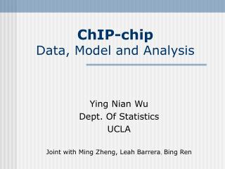 ChIP-chip Data, Model and Analysis