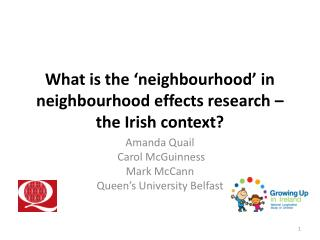 What is the 'neighbourhood' in neighbourhood effects research – the Irish  context?