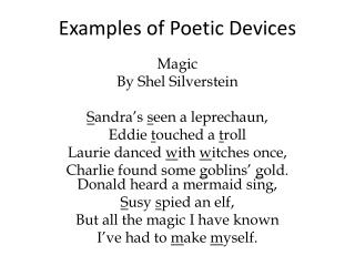 Examples of Poetic Devices