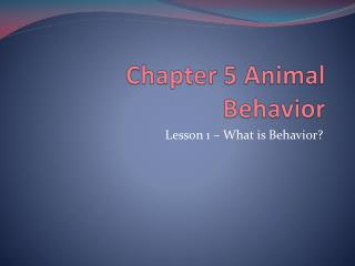 Chapter 5 Animal Behavior