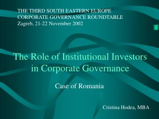 The Role of Institutional Investors  in Corporate Governance