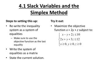 4.1 Slack Variables and the Simplex Method