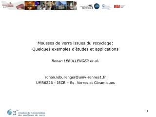 Mousses de verre issues du recyclage : Quelques exemples d'études et applications