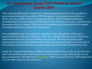 AmTrust Reports Strong Profit Growth For Second Quarter 201