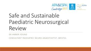 Safe and Sustainable  Paediatric Neurosurgical  Review