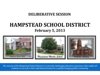 HAMPSTEAD SCHOOL DISTRICT February 5, 2013