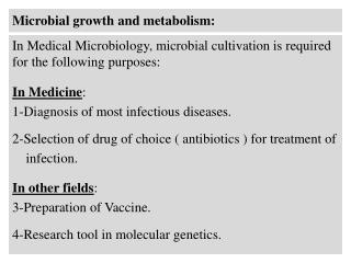 Microbial  growth and metabolism: