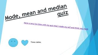 Mode, mean and median quiz