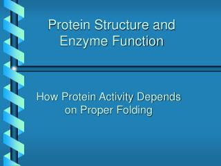 Protein Structure and Enzyme Function