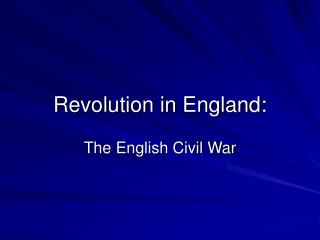 Revolution in England:
