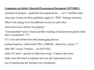 Comments on Fabric Material Procurement Document (9/17/2003):