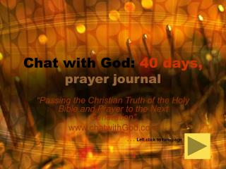 Chat with God:  40 days, prayer journal
