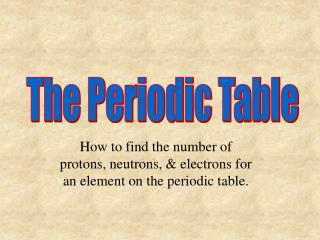 How to find the number of protons, neutrons, & electrons for an element on the periodic table.