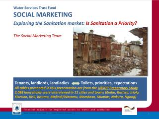 Water Services Trust Fund SOCIAL MARKETING