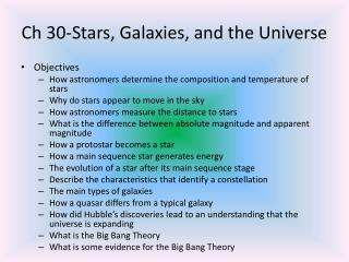 Ch 30-Stars, Galaxies, and the Universe