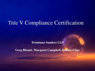 Title  V Compliance Certification