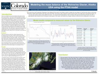 Modeling the mass  b alance of the Wolverine Glacier, Alaska USA using the PTAA model