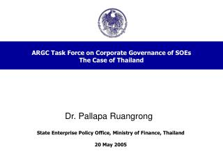 ARGC Task Force on Corporate Governance of SOEs The Case of Thailand