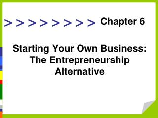 Starting Your Own Business: The Entrepreneurship Alternative