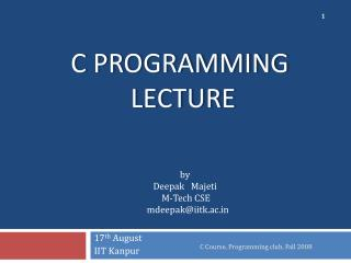 C Programming  Lecture