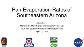 Pan Evaporation Rates of Southeastern Arizona