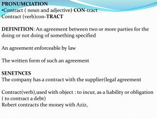 Ppt Pronumciation Contract Noun And Adjective Con