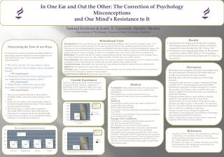 In One Ear and Out the Other: The Correction of Psychology  Misconceptions