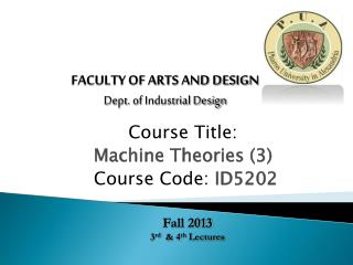Course Title: Machine Theories (3) Course Code:  ID5202