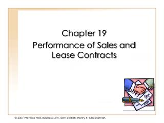 Chapter 19 Performance of Sales and Lease Contracts