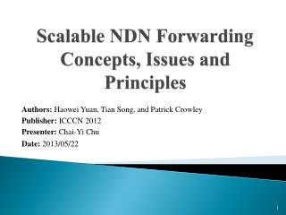 Scalable NDN Forwarding Concepts, Issues and Principles