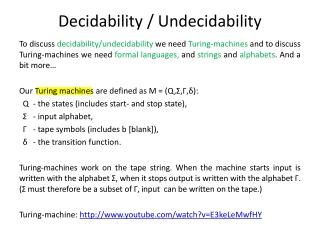 Decidability / Undecidability
