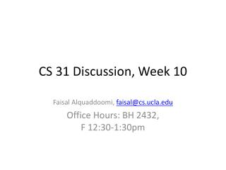 CS 31 Discussion, Week 10