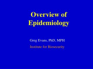 Overview of Epidemiology