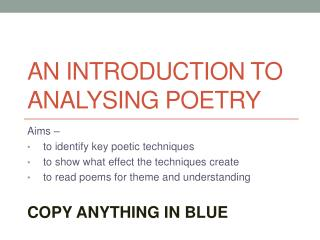 An Introduction to Analysing Poetry