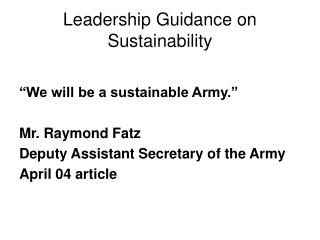 Leadership Guidance on Sustainability