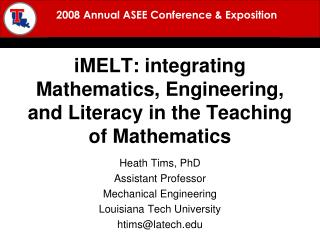 iMELT : integrating Mathematics, Engineering, and Literacy in the Teaching of Mathematics