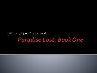 Paradise Lost, Book One