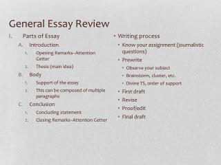 General Essay Review