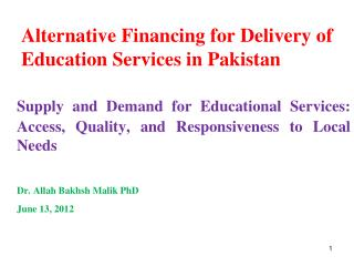 Alternative Financing for Delivery of Education Services in Pakistan