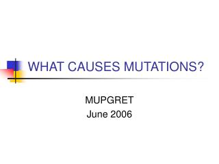 WHAT CAUSES MUTATIONS?