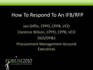 How To Respond To An IFB/RFP