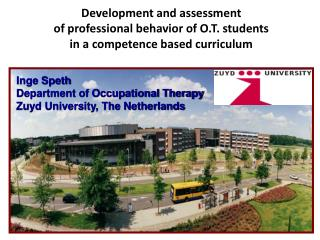Inge Speth Department of Occupational Therapy  Zuyd University, The Netherlands