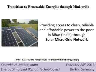 Providing access to clean, reliable and affordable power to the poor in Bihar (India) through