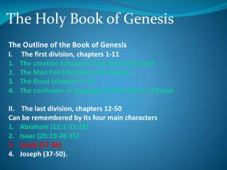 The Holy Book of Genesis